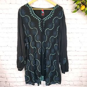 JOHNNY WAS Embroidered Long Sleeve Floral Tunic